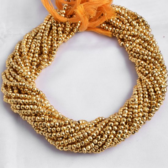 golden pyrite rondelle beads