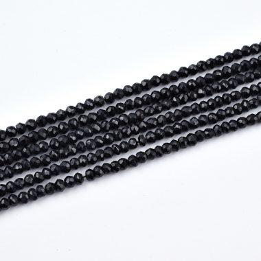 black spinel rondelle beads