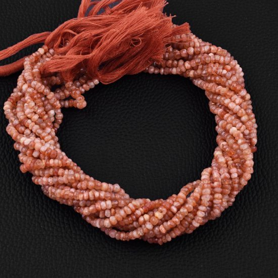 sunstone faceted rondelle beads