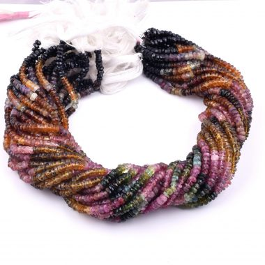 multi tourmaline rondelle beads