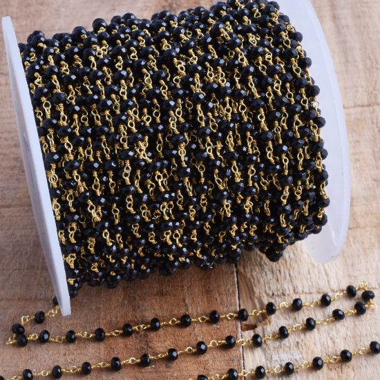 black spinel rosary chain