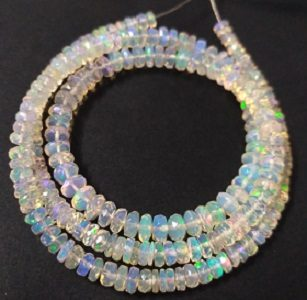 opal faceted rondelle beads