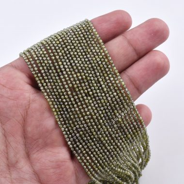 green zirconia faceted beads