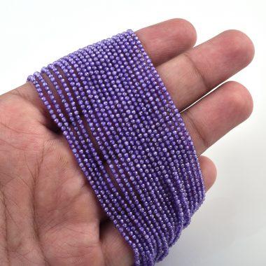 blue zirconia rondelle beads