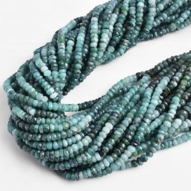 emerald shaded rondelle beads