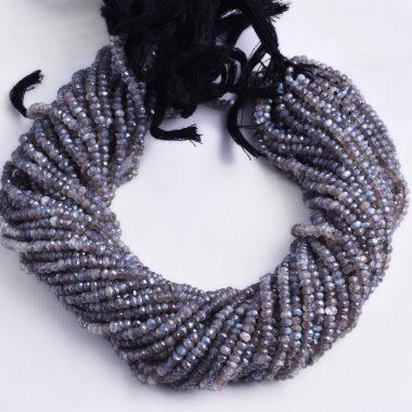 coated labradorite rondelle beads