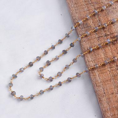 labradorite beaded rosary chain