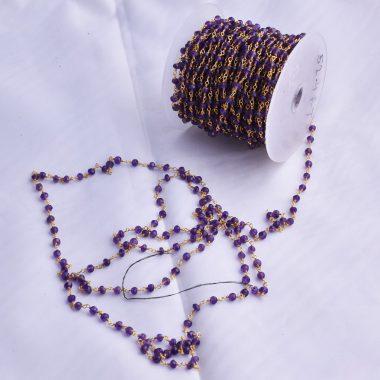 amethyst beaded rosary chain