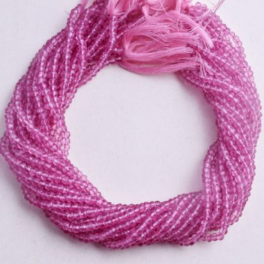 pink topaz faceted rondelle beads