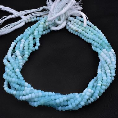 blue opal rondelle beads