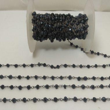 black spinel beaded rosary