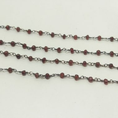 red garnet beaded rosary