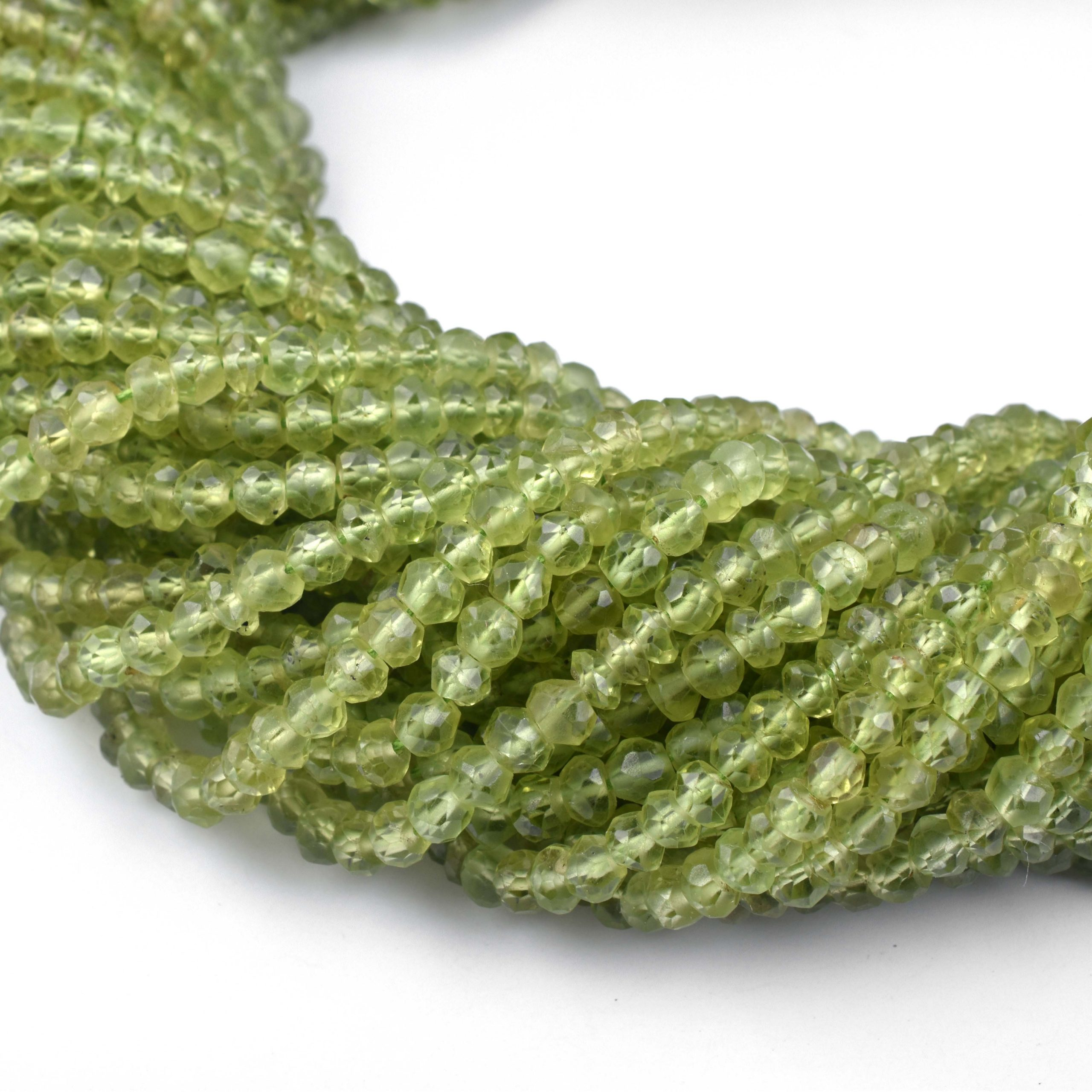 100/% Natural peridot 3-4mm rondelle faceted beads 14.5\u201d 16 long 4 strand necklace