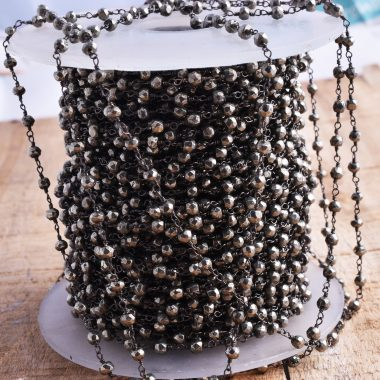 pyrite oxidized beaded rosary