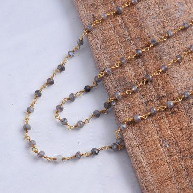 labradorite rosary vermeil chain