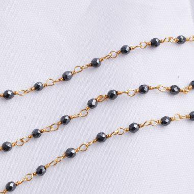 black hematite rosary chain