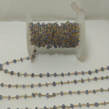 tanzanite beaded rosary chain