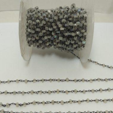 moonstone oxidized beaded rosary