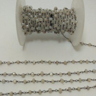 white moonstone beaded rosary