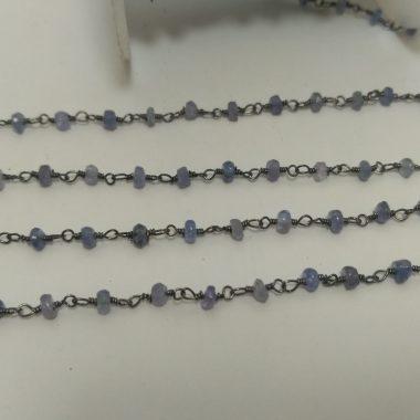 tanzanite oxidized beaded rosary