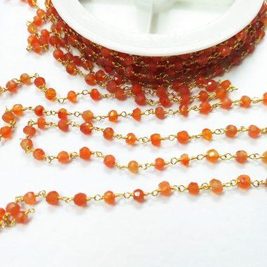 carnelian beaded rosary chain