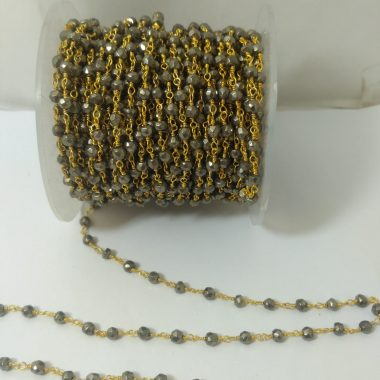 pyrite rondelle rosary chain