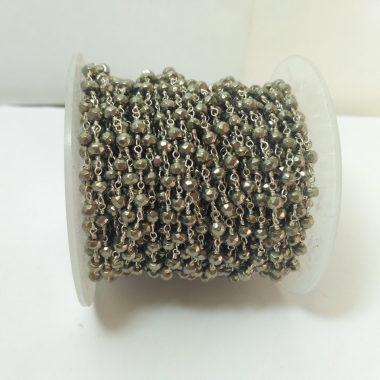 brown pyrite beaded rosary