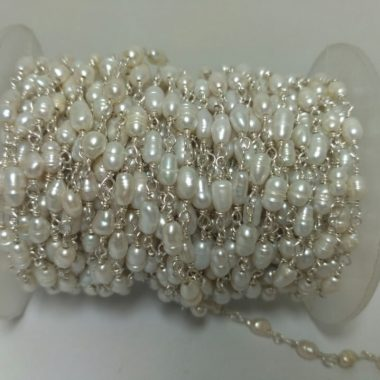 pearl silver rosary chain