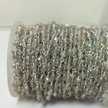 labradorite silver rosary chain