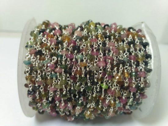 multi tourmaline rosary chain