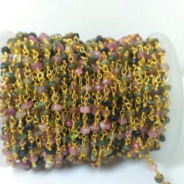 multi tourmaline beaded rosary