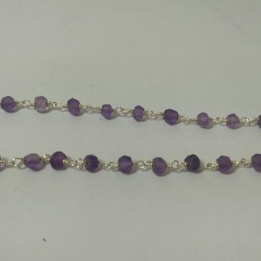 amethyst silver rosary chain