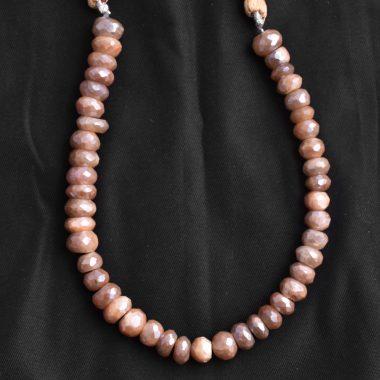 peach moonstone silverite beads