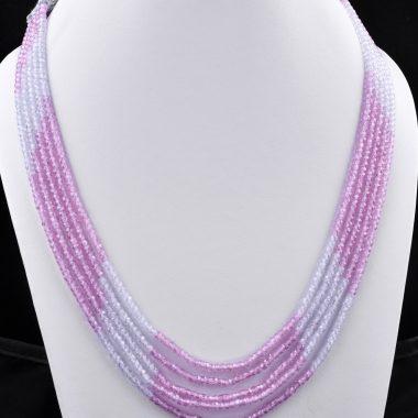 pink white zircon necklace