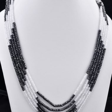 black white zircon necklace