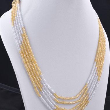 yellow white zircon necklace