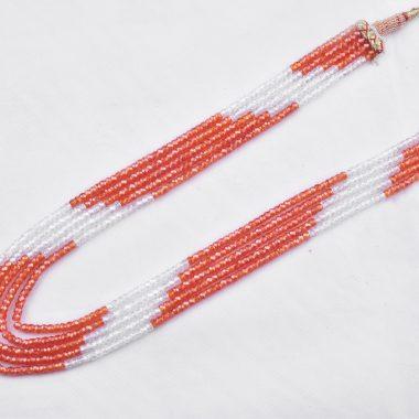 orange white zircon necklace