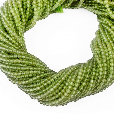 micro peridot faceted beads