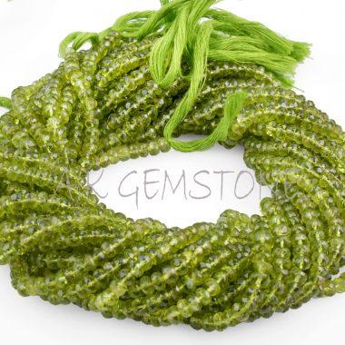 peridot faceted gemstone beads