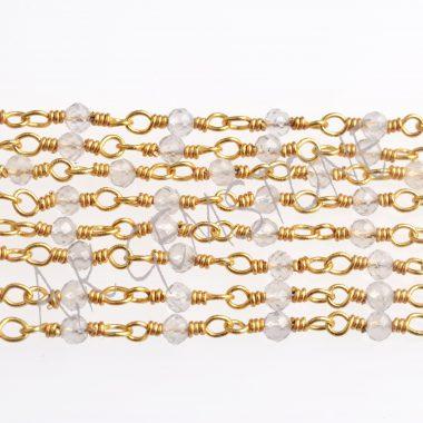 crystal quartz gold rosary chain
