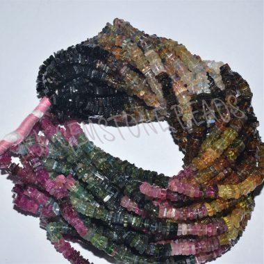 multi tourmaline square beads