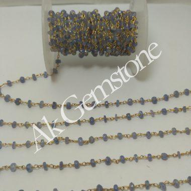 tanzanite rosary gold chain