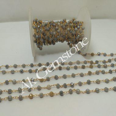 grey moonstone rosary chain