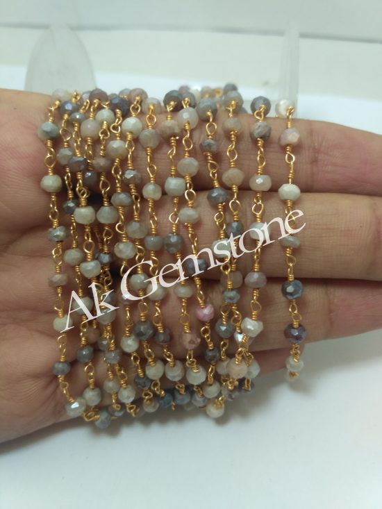 rosary chain peach moonstone