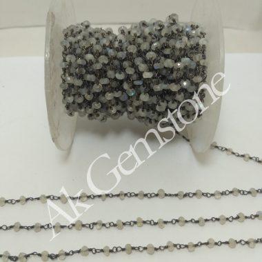white rainbow moonstone chain