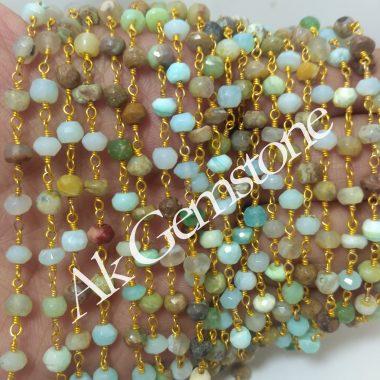 peruvian opal rosary chain