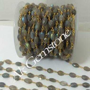 labradorite oval rosary chain