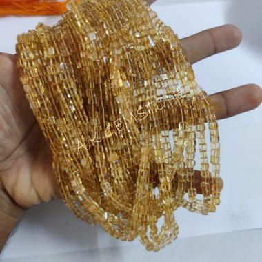 citrine smooth box beads