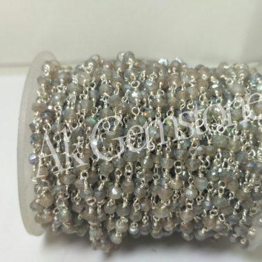 silver mystic labradorite chain